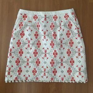 Anthro Maeve Sz 4 Blomma Skirt Embroidered Pom Pom